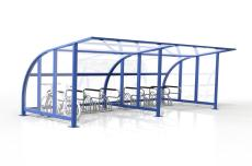 Single Sided Access Double 16 Bike Shelter